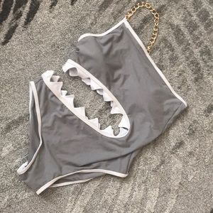 Other - Shark bite swimsuit grey white gold chain L